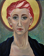 Byzantine Painting Prints - Self Portrait As A Common Saint Print by Amy Rouyer