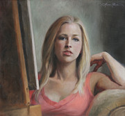 Oil Portrait Art - Self Portrait by the Window by Anna Bain