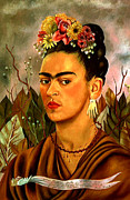 Frida Kahlo Framed Prints - Self Portrait Dedicated to Dr Eloesser by Frida Kahlo  Framed Print by Pg Reproductions