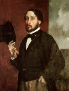 Himself Paintings - Self portrait by Edgar Degas