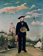 Hot Air Balloon Painting Posters - Self Portrait from Lile Saint Louis Poster by Henri Rousseau