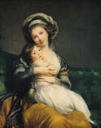 Hugging Prints - Self portrait in a Turban with her Child Print by Elisabeth Louise Vigee Lebrun