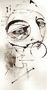 Pen And Ink Portraits Posters - Self Portrait In Black And White Poster by Mark M  Mellon