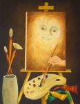 Warm Colors Paintings - Self-Portrait In Progress by Pamela Allegretto