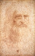 Da Vinci Posters - Self Portrait in Red Chalk Poster by Extrospection Art