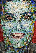 Mosaic Glass Portrait Mixed Media Prints - Self Portrait Print by Laura K Aiken