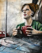 Coffee Shop Painting Posters - Self Portrait Poster by Molly Markow