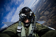 Self-portrait Photos - Self-portrait Of A Pilot In The Cockpit by Stocktrek Images