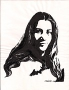 India Ink Posters - Self Portrait of the Artist Poster by Jamey Balester