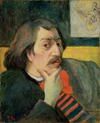 Hand On Chin Posters - Self portrait Poster by Paul Gauguin