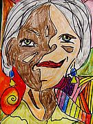 Self Portrait Pastels Prints - self portrait Picasso style Print by Mona McClave Dunson
