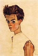 Schiele Posters - Self Portrait Schiele Poster by Pg Reproductions