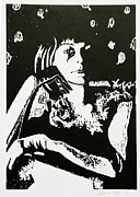Portrait Woodblock Posters - Self Portrait Poster by Suzanne Blender