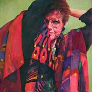 Shawl Paintings - Self Portrait by Trudi Smith
