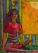 Self-portrait Pastels Prints - Self Portrait Why Print by Lydia L Kramer