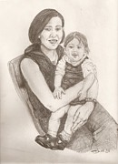 Self-portrait Drawings - Self Portrait with daughter by Erin Smith