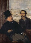 Self-portrait Painting Prints - Self Portrait with Evariste de Valernes Print by Edgar Degas