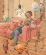 Brown Drawings Posters - Self-portrait with my things Poster by Kestutis Kasparavicius
