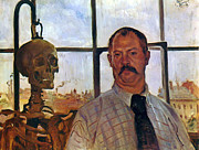 Self-portrait Paintings - Self-Portrait with Skeleton by Stefan Kuhn