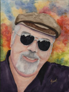 Sunglasses Painting Posters - Self Portrait with Sunglasses Poster by Sam Sidders
