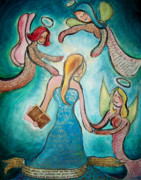 Strength Paintings - Self Portrait With Three Spirit Guides by Carola Joyce