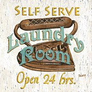 Iron Posters - Self Serve Laundry Poster by Debbie DeWitt