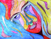 Faces Drawings - Selfless by Donna Blackhall