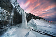 Cliff Acrylic Prints - Seljalandsfoss Sunset Acrylic Print by Traumlichtfabrik