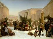 Selling Christmas Trees Print by David Jacobsen