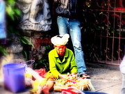 Old Woman Portrait Prints - Selling offerings on Ubud streets Print by Funkpix Photo  Hunter