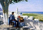 Oil Wine Paintings - Selling Wine in Santorini by Roelof Rossouw