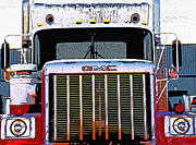Tractor Trailer Digital Art Prints - Semi Close-Up 1 Print by Steve Ohlsen