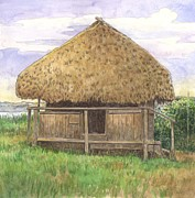 Home Pastels Posters - Seminole Hut Poster by Robert Casilla
