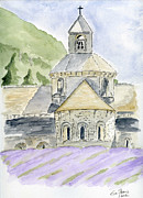 Church Drawings Framed Prints - Senanque Abbey Provence Framed Print by Eva Ason
