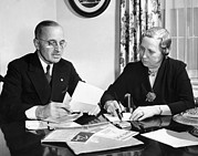Future First Lady Posters - Senator Harry Truman With His Wife Poster by Everett