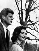 Senator Kennedy Metal Prints - Senator John F. Kennedy, Jackie Metal Print by Everett
