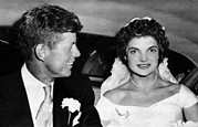 Senator Kennedy Metal Prints - Senator John F. Kennedy, Jacqueline Metal Print by Everett