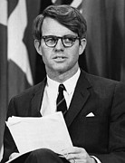 Senator Kennedy Metal Prints - Senator Robert F. Kennedy Waits Metal Print by Everett