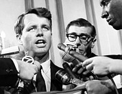 Bobby Kennedy Prints - Senator Robert Kennedy In A Press Print by Everett
