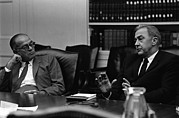 Cabinet Room Prints - Senators William Fulbright And Eugene Print by Everett