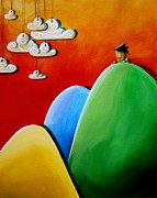 Green Yellow Paintings - Send In The Clouds by Cindy Thornton