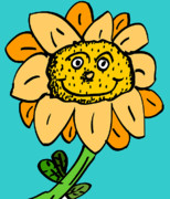 Cute Cartoon Digital Art Framed Prints - Senny the Sunflower Framed Print by Jera Sky
