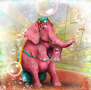 Ephemera Prints - Senora Beatriz el elefante rosa Print by Jessica Grundy