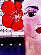 Senorita Con Flor Print by Lucia Meza