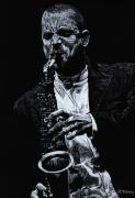 Player Pastels Framed Prints - Sensational Sax Framed Print by Richard Young