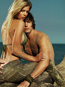 Sun Tanned Framed Prints - Sensual Portrait of a Young Couple on the Beach Framed Print by Oleksiy Maksymenko