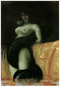 Victorian Era Woman Framed Prints - Sensuality Framed Print by Franz Von Stuck