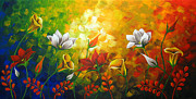 Landscape Greeting Cards Painting Posters - Sentient Flowers Poster by Uma Devi