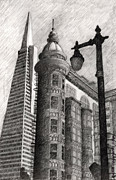City Scene Drawings Framed Prints - Sentinel Building Framed Print by Andre Salvador