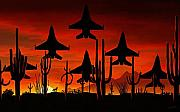 Jet Painting Prints - Sentinels Print by David Wagner